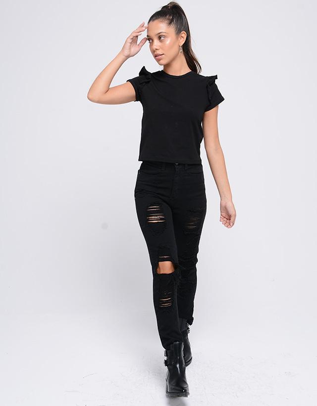 PIETÀ - Jeans Mom Rock Negro