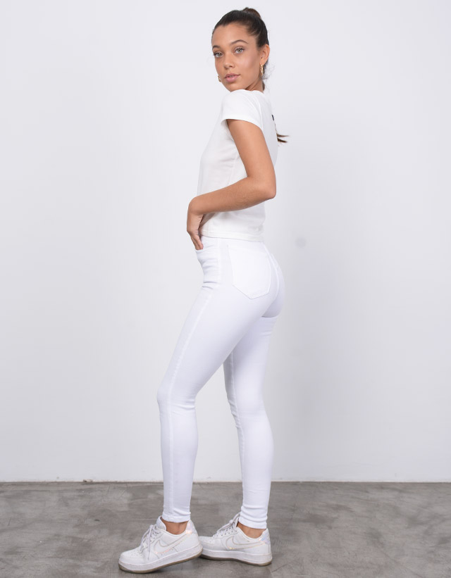 Pantalon Skinny Gabardina Blanco