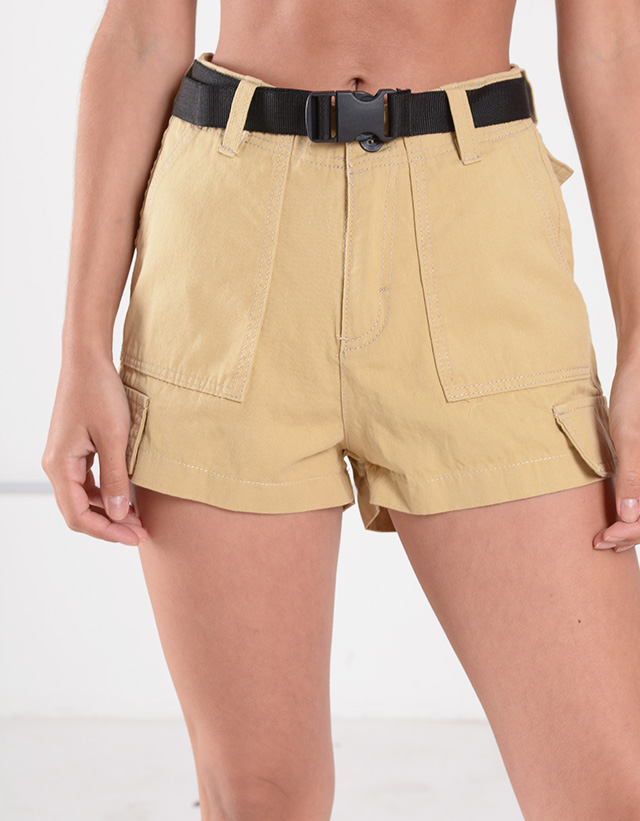 Shorts Cargo Gabardina con cinto